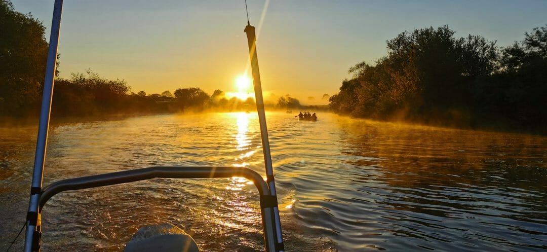 Sunrise from the Powerboat