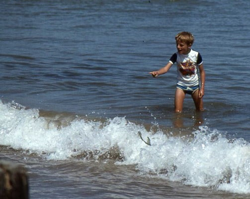A young Me in the sea